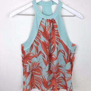 H&M |  Aqua/Orange Tropical Print Halter Blouse